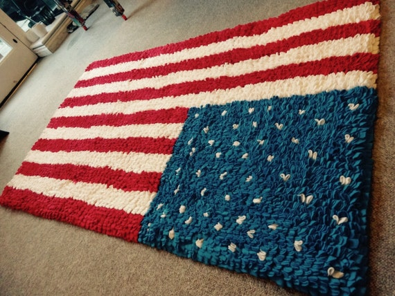 Charming Items Similar To Handmade American Flag Rag Rug On Etsy