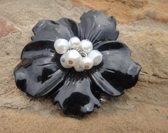 Big STATEMENT Flower Chunky Black Flowers Pendant Pin Brooch