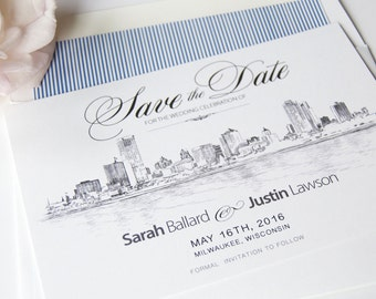 Milwaukee Skyline Save the Date Cards, Save the Dates, STD, Milwaukee Wedding, Wisonsin (set of 25 cards and white envelopes)