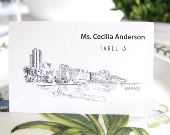 Hawaii Destination Wedding Skyline Folded Place Cards (Set of 25 Cards)