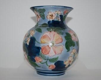 Vintage Blue Floral Vase