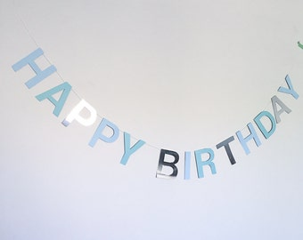 Blue two tone and silver happy birthday banner boys