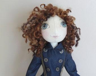 Handmade Fabric OOAK Art Doll - Textile Soft Sculpture - Cloth Doll