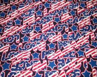 BTY Red, White, Blue PEACE & LOVE Print 100% Cotton Quilt Craft Fabric by the Yard