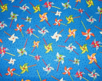 BTY Novelty PINWHEELS Print 100% Cotton Quilt Craft South Sea Imports Fabric by the Yard