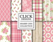"""Shabby Chic Digital Paper: """"SHABBY CHIC PINK"""" Floral scrapbook background, romantic papers with roses, plaid, wood, lace for invitations"""