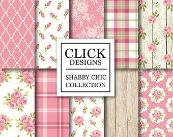 "Shabby Chic Digital Paper: ""SHABBY CHIC PINK"" Floral scrapbook background, romantic papers with roses, plaid, wood, lace for invitations"