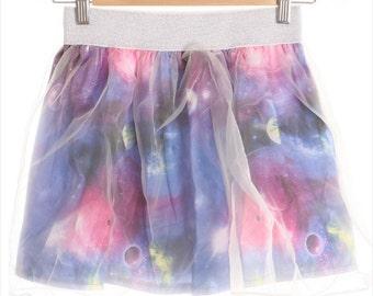 Mesh Cover Galaxy Skater Skirt