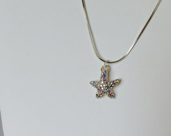 Silver Pave Starfish Necklace on Silver Plated Chain, Nautical jewelry, Beach jewelry SP00029