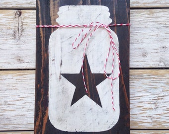 Mason Jar Star sign - hand painted on reclaimed wood