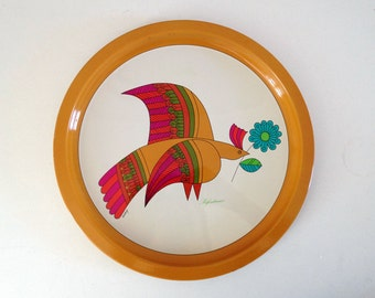 Vintage bird tray  / Pub Préfontaines Signed EDERY