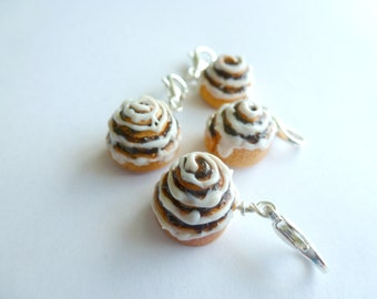 Miniature Food Jewelry, Cinnamon Rolls, Cinnamon Roll Charms,Mini Cinnamon Rolls Handmade, Cinnamon Roll Charm