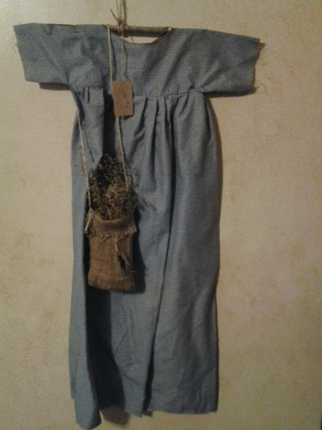 Primitive Blue Dress w/Burlap Bag of Sweet by Thyme4Primitives