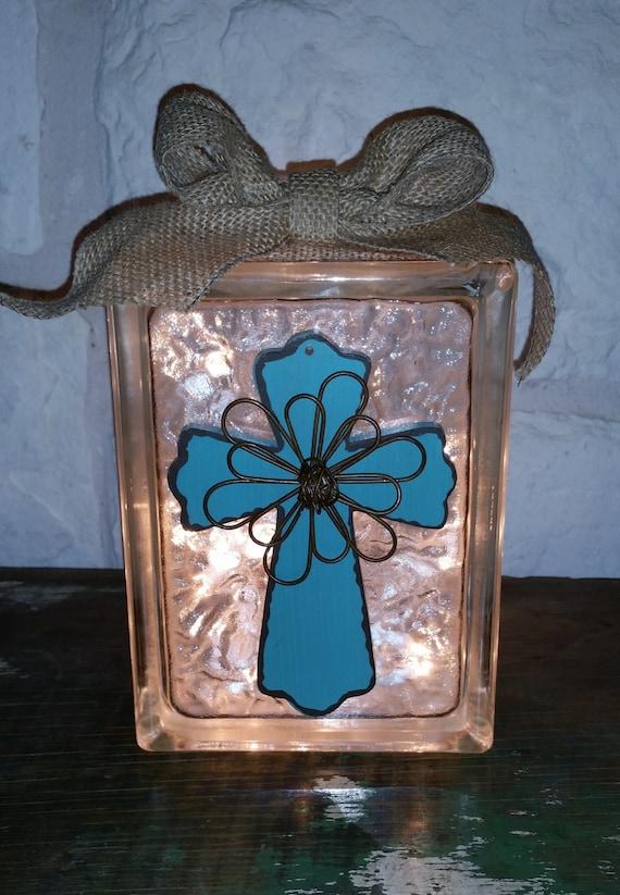 Decorative glass block light turquoise wooden cross for Designer glass block