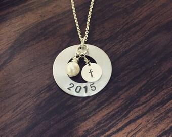 Handstamped graduate necklace