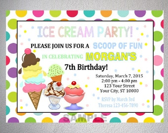 Ice Cream Party Invitation, Ice Cream Shoppe Birthday Party Invitation, Digital or Printed
