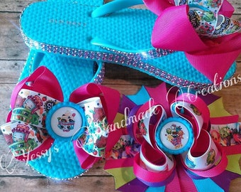 Shopkins inspired boutique flip flops and matching boutique hair bow!!