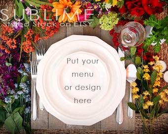 Styled Stock Photography / Plates / Mock up / Menu  / Wedding Menu / Place Setting / Table Stetting / JPEG Digital Image / StockStyle-467