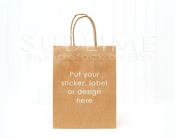 Styled Stock Photography / gift bag mock up / kraft bag / product photography / background image / JPEG Digital Image / StockStyle-486