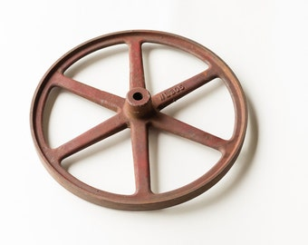 Rustic Old Iron Wheel - Worn and Weathered Decor - Nice and Manageable Size for Decorating or Re-purposing - Cottage Chic