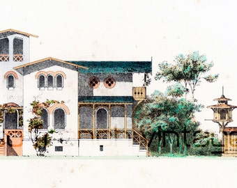1854 Italian Villetta dovercote plans Architectural antique print large size A3 antique engraving drawing architectural details