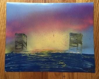 "11"" x 14"" Sunset Landscape Spray Paint Painting no. 70"