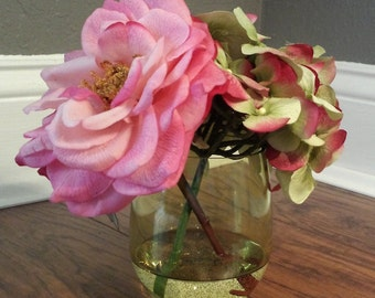 Small Green and Pink Arrangement in Green Tumbler