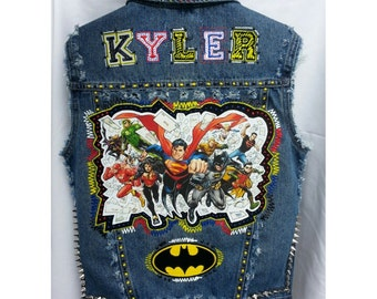 DC Comics Custom Denim Vest Batman Jean vest, justice League
