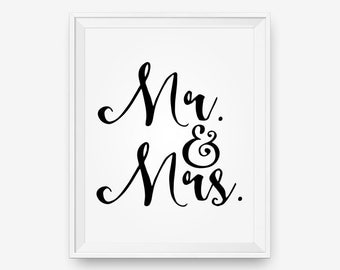 Mr & Mrs marriage printable, wedding gift, anniversary, motivational, inspirational - Digital Download - Printable Art