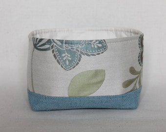 Azure floral fabric box/basket