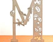 wooden letter M - wood laser cut ladybugs - alphabet