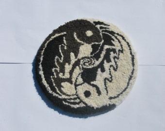 Hooked Rag Rug Hanging , Yin Yang Birds Original Design