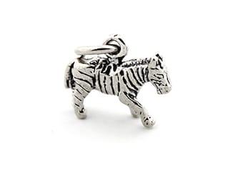 Sterling silver Zebra bracelet charm Zebra charm pendant with open jump ring (C-06)
