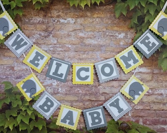 Welcome Baby Banner, Welcome Baby Sign, Welcome Baby Elephant Banner, Baby Boy Shower Banner, Baby Boy Shower Decoration