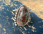 Blue Sea Sediment Jasper Statement Sterling Silver Cuff