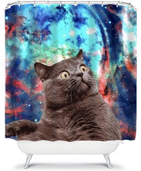 Surprised Cat Space Cat Shower Curtain Funny Cute Home Decor