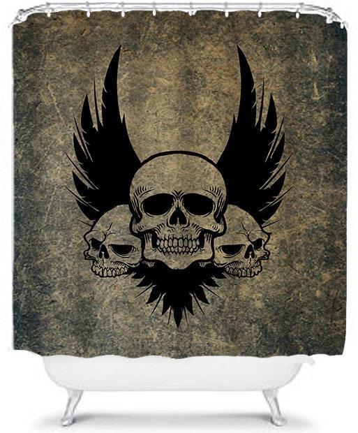 Punk skulls shower curtain skull and crossbones decor wings for Punk rock bathroom decor