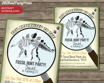 PDF format-Instant Download-Fossil Hunt-Dinosaur Party Printable-invitation-ticket invitation-access card-game ticket