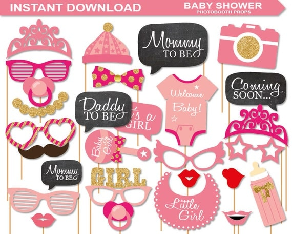 Instant Download Baby Shower Photobooth Props Printable