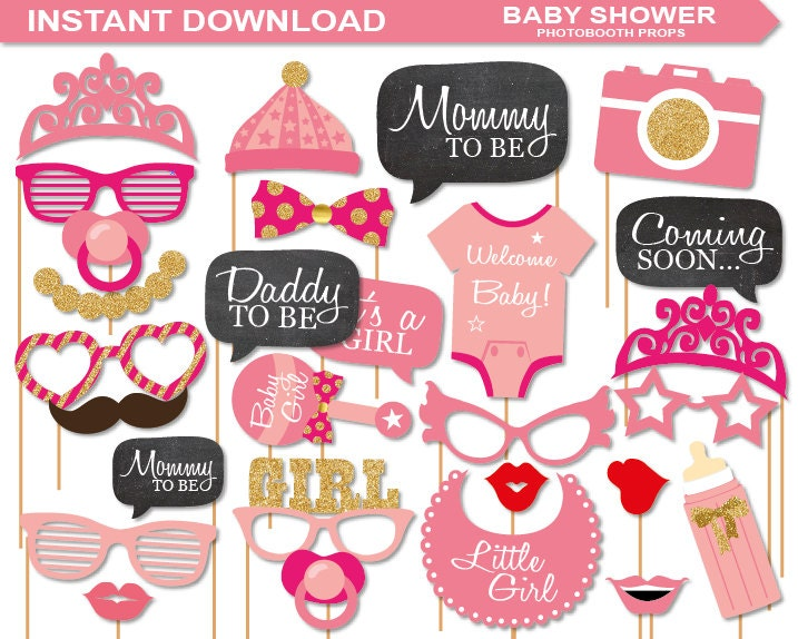 instant download baby shower photobooth props printable pack