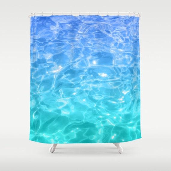 Teal Water Shower Curtain Bathroom Blue Turquoise Ocean Sea