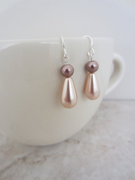 Pink pearl earrings.  Pale pink bead earrings.  Pearl dangles.  Pearl tear drops.  Gifts for her.  Delicate earrings.
