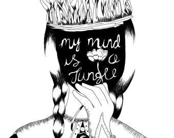 A3 Limited Edition My mind is a Jungle Screenprint