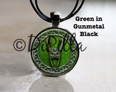 Loki Helmet Pendant in 4 Color Choices Black or Copper or Green with Leather Cord