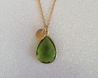 "Peridot Gemstone Pendant Necklace. Wedding. Long Necklace at 30"". 18K. August Birthstone. Bridesmaid"