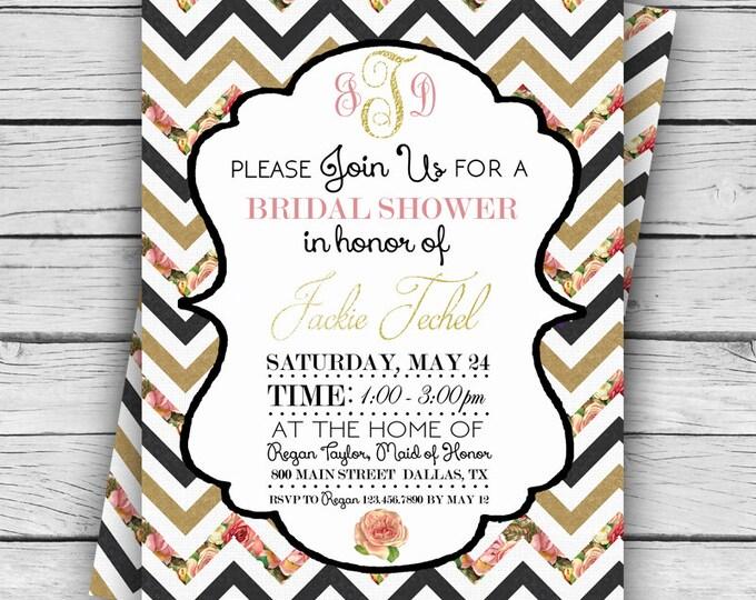 MONOGRAM Chevron Roses WEDDING SHOWER Invitation, Wedding Shower, Personalized Shower Invite, Tie the Knot, Digital file, Printable file