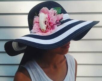 Floppy Black White Striped Sun Hat w/ Real Mink Skull and Flower