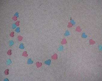 Garland 10 feet---Hearts-   pink and blue glitter