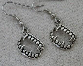 Earrings, Supernatural inspired, Vampire Fang Charms