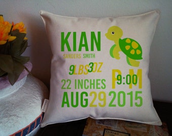 """Personalized Baby Birth Announcement Pillow 10"""" by 10"""" - Insert Included, 100% Cotton Fabric"""